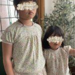 猫足接結 花とみつばち柄 シンプルラグラン 子供服 ジュニア 型紙 手作り