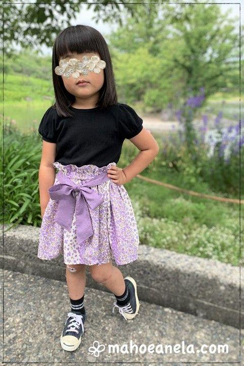 ミニスカート 子供服 型紙 手作り ハンドメイド 前リボン