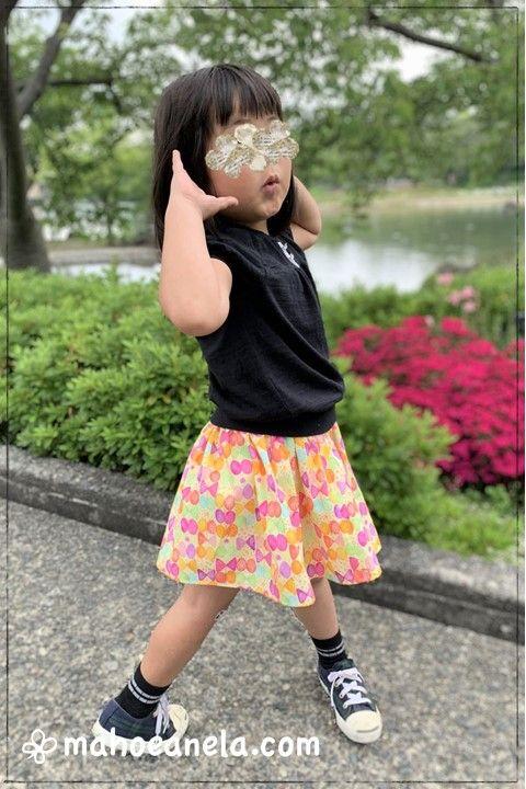 ミニスカート 型紙 子供服 女の子 りぼんちょうちょ柄