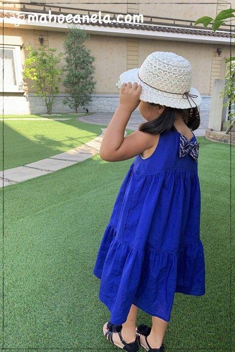 リゾートワンピース 子供服 型紙 バックリボン 手作り ハンドメイド 姉妹ペア