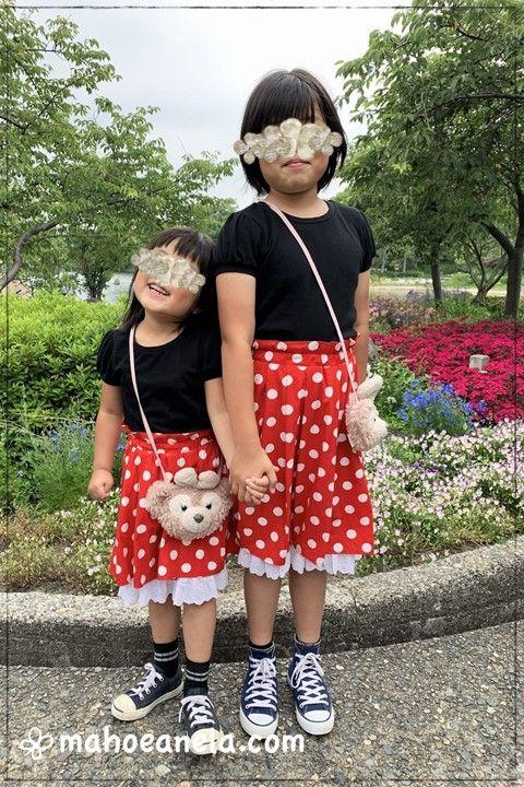 ディズニー ミニー スカート コスプレ 姉妹ペア 双子コーデ 親子ペア 型紙 手作り ハンドメイド
