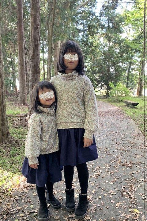 ボリュームミニスカート型紙 オックス生地 子供服 ジュニア 姉妹お揃い