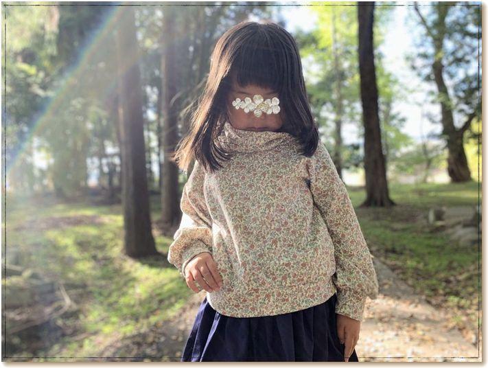 小花柄 オフタートル ゆるプル 型紙 子供服 手作り 姉妹お揃い ジュニア