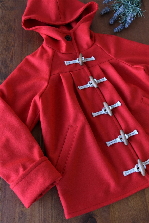 おんなのこコート型紙 圧縮ウール生地 子供服 ジュニア 姉妹お揃い